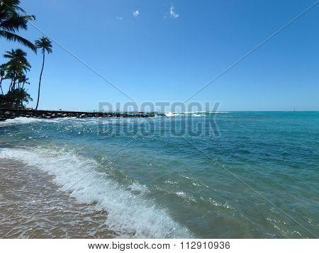 Waves Lap On Kaimana Beach