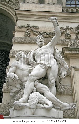 Vienna, Austria - April 23, 2010:  Sculpture Of Hercules Near The Hofburg Palace In Vienna, Austria