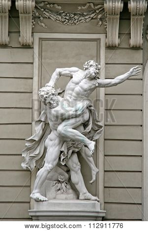 Vienna, Austria - April 23, 2010: Sculptures Hercules Wrestling Antaeus Near The Hofburg Palace In V