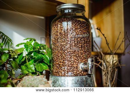 Glass container of coffee beans