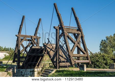 Arles, France - September 8, 2015: Van Gogh drawbridge through canal near Arles France