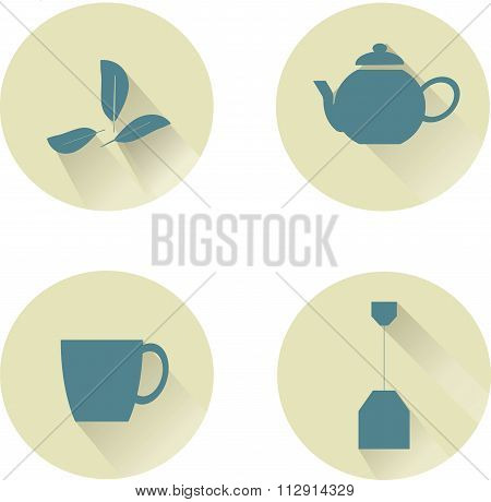 Tea round icon, blue icons with shadow on beige background, teapot, tea bag, tea leaves, cup, pastel
