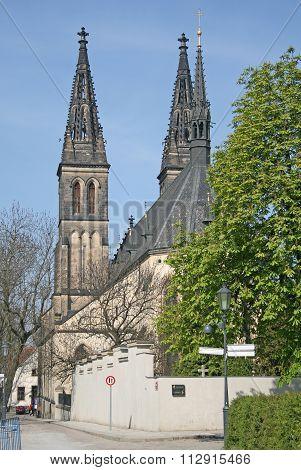 Prague, Czech Republic - April 25, 2010: Basilica Of St Peter And St Paul In Vysehrad, Prague, Czech