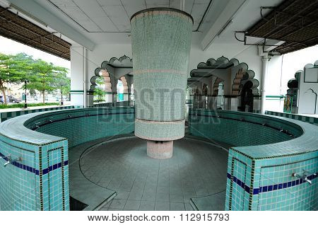 Ablution of India Muslim Mosque in Ipoh, Malaysia