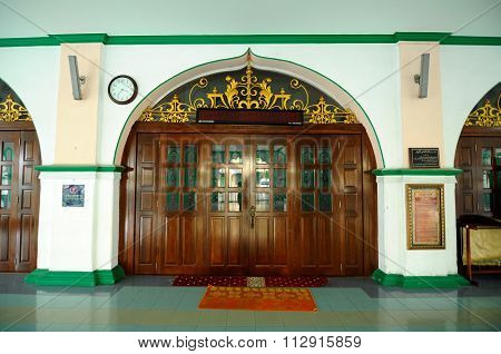 Entrance door of the India Muslim Mosque in Ipoh, Malaysia