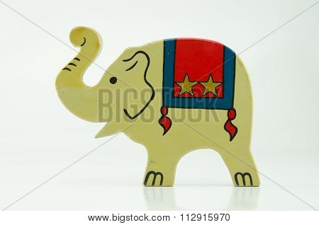 Wooden Circus Elephant On White