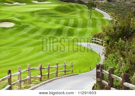 Wavy Green Golf Field