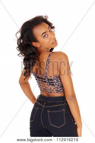 African American Woman Looking Over Shoulder.