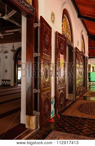 Door of Architectural detail at Tranquerah Mosque or Masjid Tengkera in Malacca, Malaysia