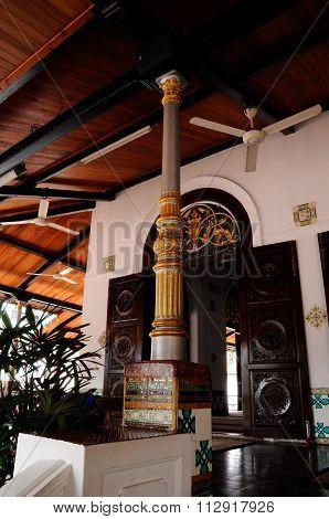Column detail of Tranquerah Mosque or Masjid Tengkera