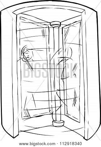 Outline Doorway With People