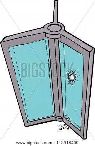 Revolving Door With Broken Glass