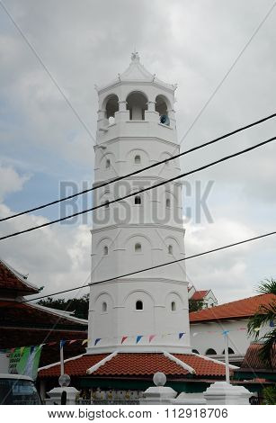Minaret of Tranquerah Mosque or Masjid Tengkera in Malacca, Malaysia