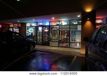 Liquor Store at Night