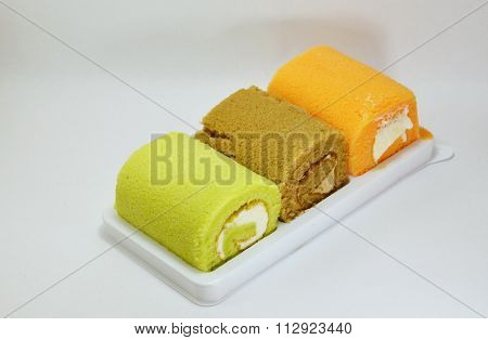 cake roll fancy on tray in white background