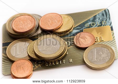 Euro Coins And Credit Card