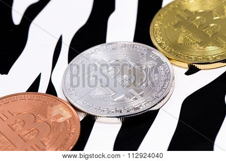 Bitcoins On White And Black Backround