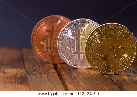 Bitcoins On Wooden table
