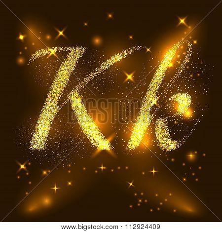 Alphabets K and k of gold glittering stars. Illustration vector