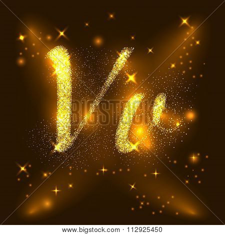 Alphabets V and v of gold glittering stars. Illustration vector