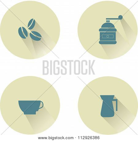 Coffee round icons, shadow. Blue coffee beans, coffee grinder, cup, kettle on beige