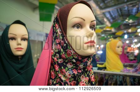 Hijab, or islamic veil, displayed in a market in Kota Kinabalu Sabah Malaysia.Soft image and selecti