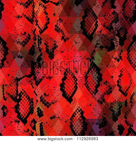 Snake Skin Texture  With Colored Rhombus. Geometric Background. Seamless Pattern Black Red Backgroun