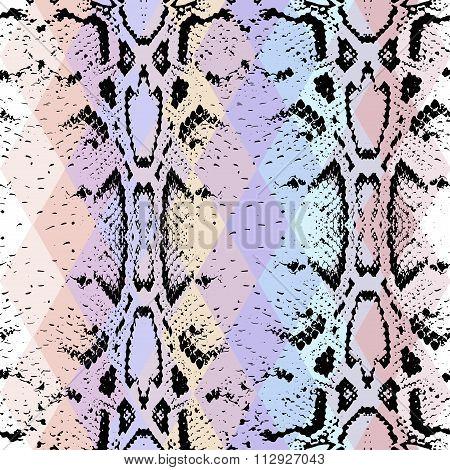 Snake Skin Texture  With Colored Rhombus. Geometric Background. Seamless Pattern Black Purple Blue P