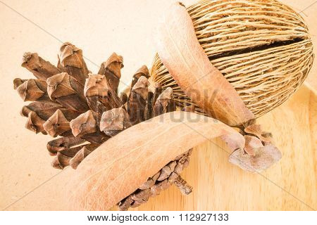 Mix Of Dried Plant Ornament On Wooden Background