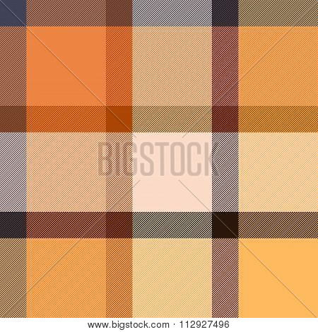 Checkered tartan fabric seamless pattern in beige and orange, vector