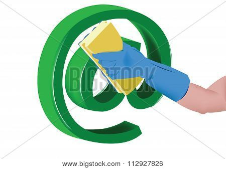 hand with sponge cleans