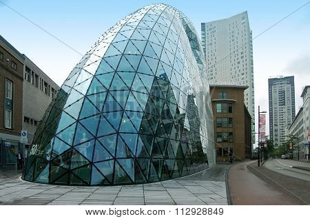 Futuristic glass building
