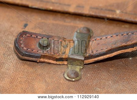 Old Canvas Trunk Handle Close Up