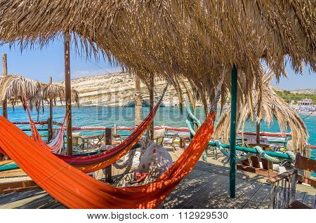 Hammocks at Matala beach, Crete islad