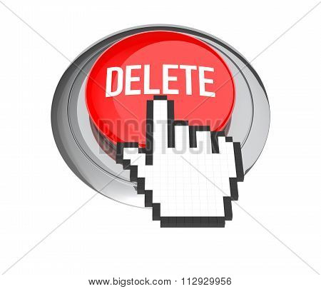 Mouse Hand Cursor On Red Delete Button. 3D Illustration.