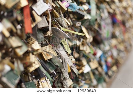 Love Locks On Paris Bridge