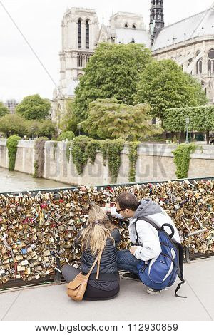 Love Locks On Paris Bridge