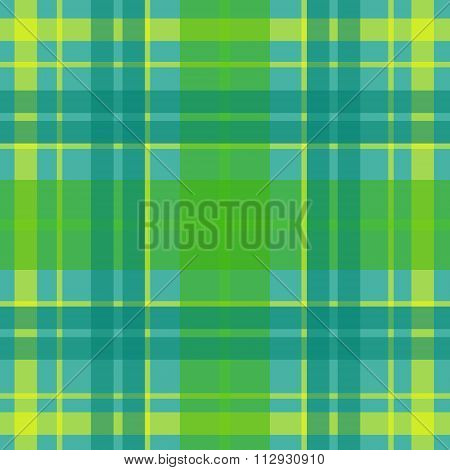 Vector seamless scottish tartan pattern in green blue turquoise yellow. British or irish celtic desi