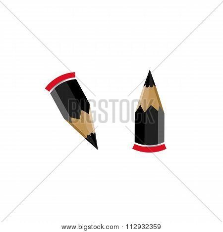 Two Vector Pencils With Red Eraser