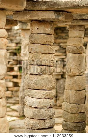 Ancient Detached Uncut Stone Columns