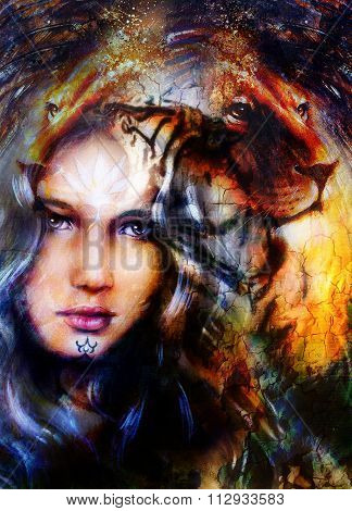 painting mighty lion head on ornamental background and mystic woman face, computer collage.