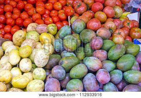 Fruits And Vegetables In The Market Stall