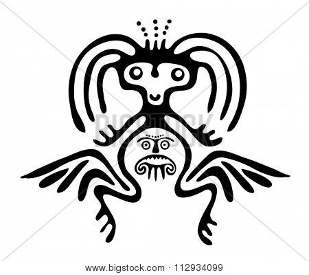 winged black alien in native style, illustration
