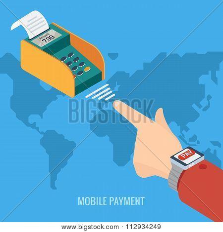 Smart Watch payment concept.