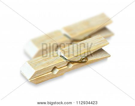 Clothespin isolated on white background.