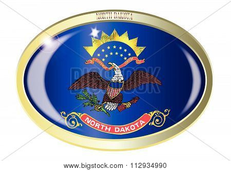 North Dakota State Flag Oval Button