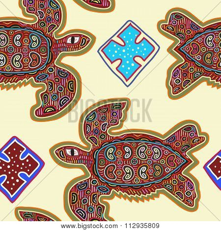 Decorative Vector Ethnic Seamless Pattern in Mola Art Form of Kuna Indians. Ethno. Mola Style. Turtl