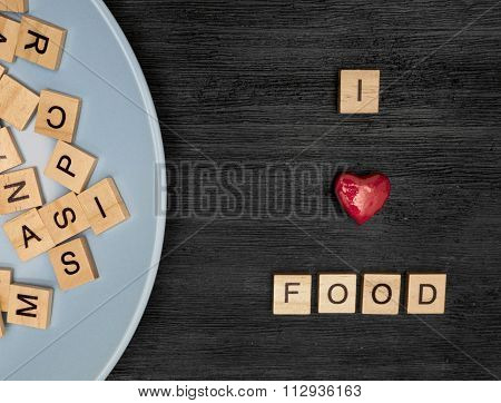 Wooden Letters Spelling I Love Food
