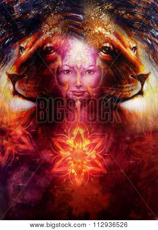 painting mighty lion head, and mystic woman face with bird phoenix tattoo on face, ornament backgrou