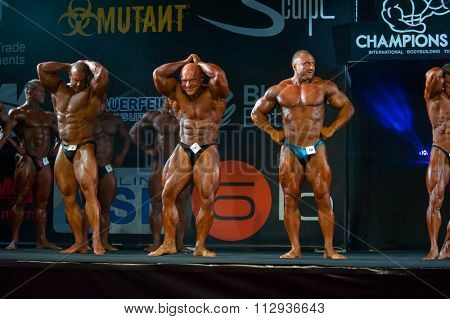 MOSCOW, RUSSIA - NOVEMBER 21, 2015: Athletes participate in Bodybuilding Champions Cup during SN Pro Expo Forum 2015 on November 21, 2015 in Moscow, Russia